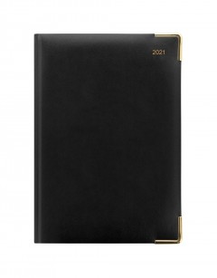 Classic A5 Day to Page Diary with Appointments 2021 Black