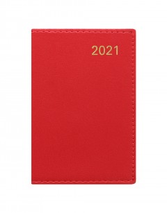 Belgravia Mini Pocket Week to View Leather Diary with Planners 2021 Red