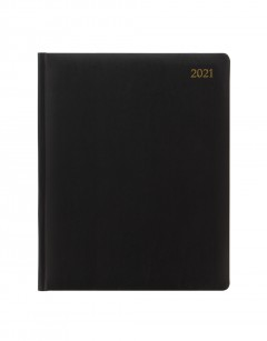 Signature Quarto Week to View Leather Diary with Appointments/Planners 2021 Black