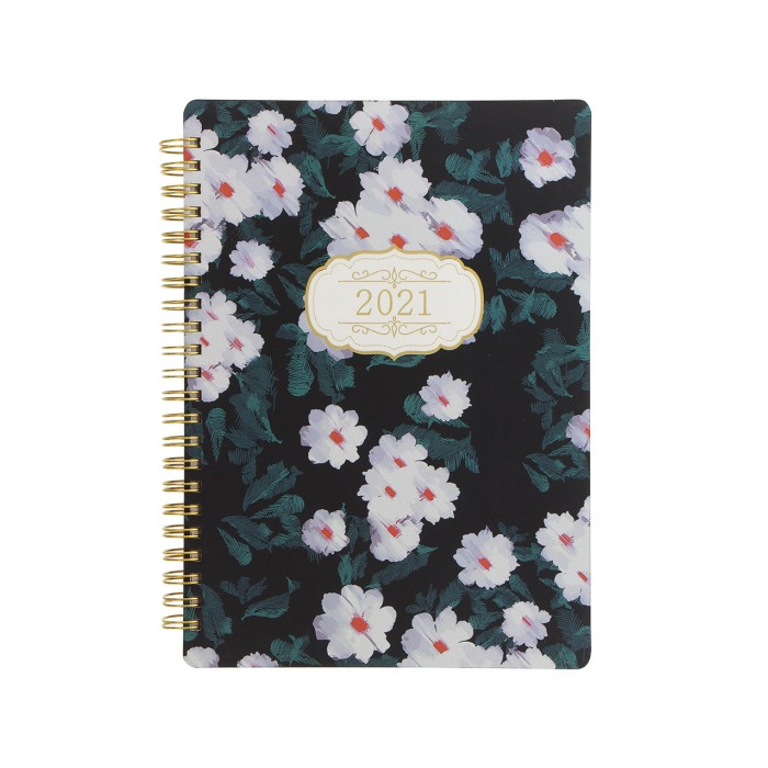 Bloom A5 Week to View Diary 2021 Black