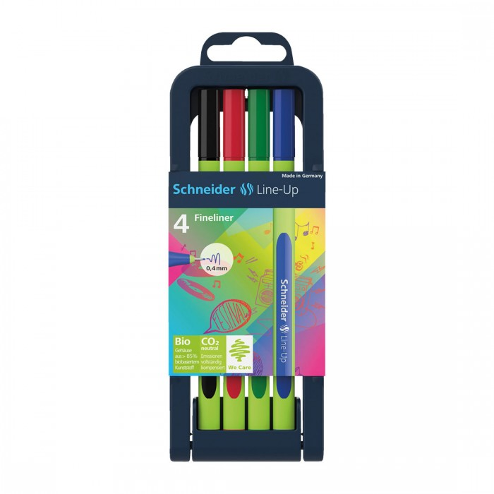 Line-Up Fineliner 0.4mm with Case stand, 4 pieces