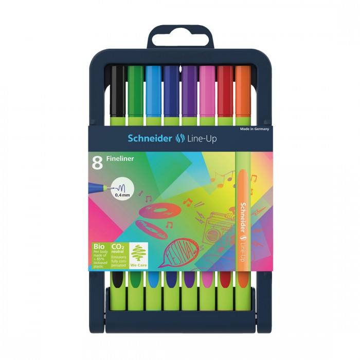 Line-Up Fineliner 0.4mm with Case stand, 8 pieces