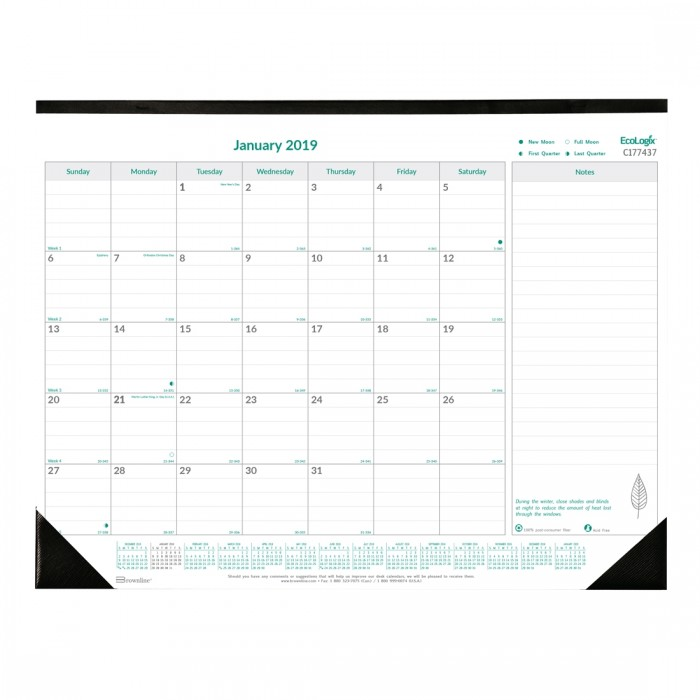 Ecologix Monthly Desk Pad 2019