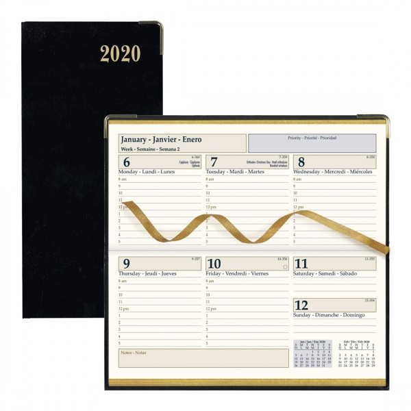 """10-3//4 x 7-3//4/"""" Hardcover 2020 Brownline CBE512 Executive Weekly Planner"""